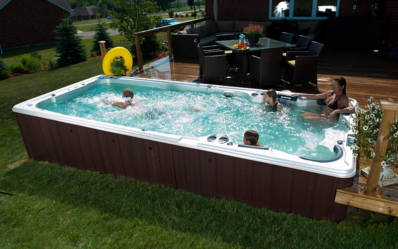 Swim spa installation ideas brady 39 s pool spa for Pool and jacuzzi designs