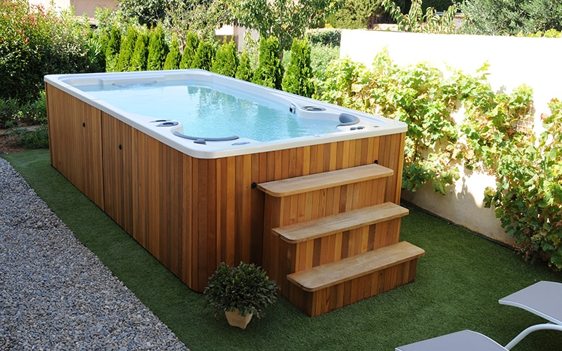 Raised Deck Installations Always Look Great It Allows You To Create Full Service Access Around The Swim Spa While Giving An In Ground
