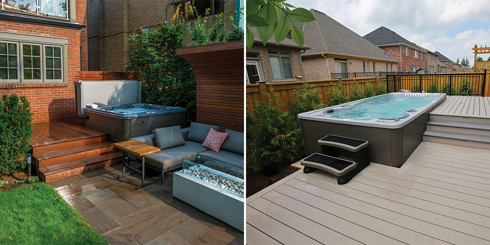 Multi level deck designs for hot tubs and swim spas
