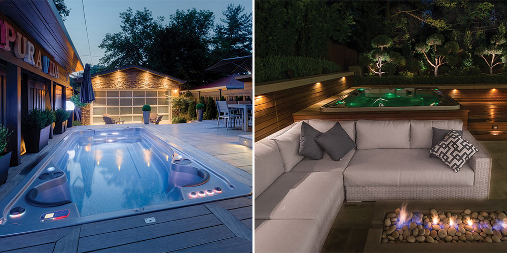 Using lighting to improve the landscape design of a swim spa or hot tub